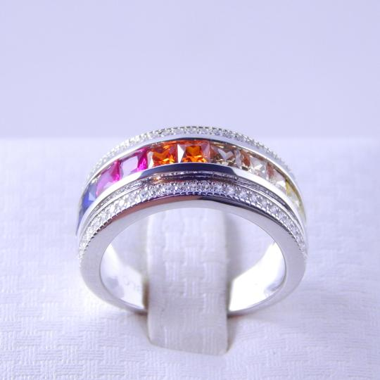 Other RAINBOW SAPPHIRE PRINCESS CUT STERLING SILVER Image 3