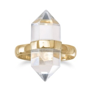 NEW Quartz Spike Ring NEW 14 Karat Gold Plated Clear Quartz Ring