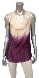Tory Burch Silk Ombre Sleeveless Top Purple, Ivory