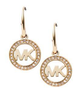 Michael Kors NWT MICHAEL KORS PAVE LOGO EARRINGS GOLD TONE W BAG MKJ4794