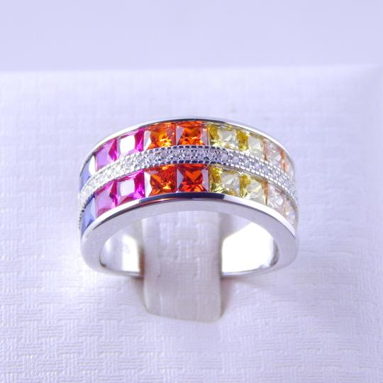 Other RAINBOW SAPPHIRE CHANNEL SET W/CZ ACCENTS STERLING SILVER Image 2