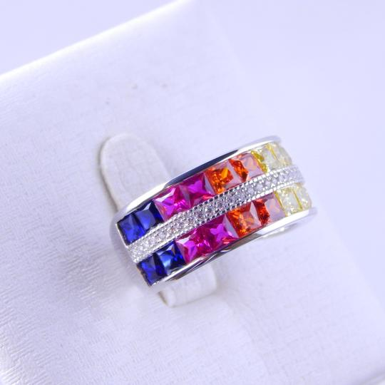 Other RAINBOW SAPPHIRE CHANNEL SET W/CZ ACCENTS STERLING SILVER Image 3