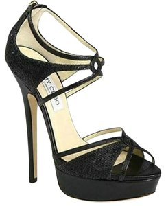 Jimmy Choo Glitter Sandal Strappy Black Glitter Pumps