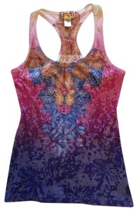 Mossimo Supply Co. Sexy Razor Back Printed Form Fitting Bright Going Out Top