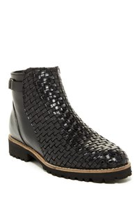Sheridan Mia Rocker Leather Woven Bootie Black Boots
