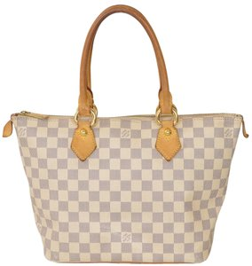 Louis Vuitton Monogram Damier Azur Saleya Satchel in White