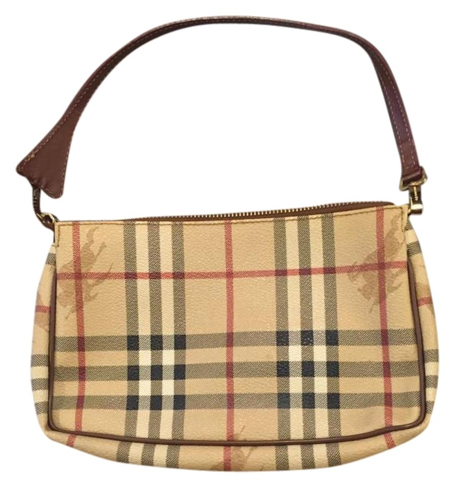 8b94cf0d6ce9 Burberry Haymarket Check Pochette Tan Red Black White Pvc Shoulder ...