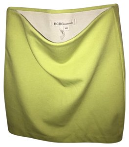 BCBGeneration Fitted Mini Elastic Pencil Neon Mini Skirt Bright Lime