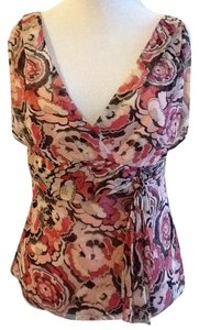 Elie Tahari Made In China 100% Silk Top Pink red white brown