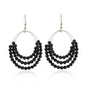 Malaysia Jade Triple Drop Bead Earrings