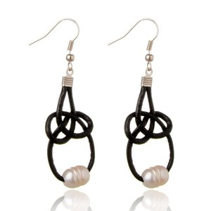 Freshwater Pearl and Black Leather Earrings
