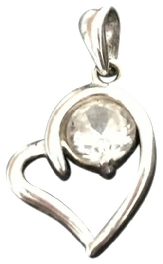 Oh La La! Necklace And Heart Charm, Sterling silver. Cubic Zirconia