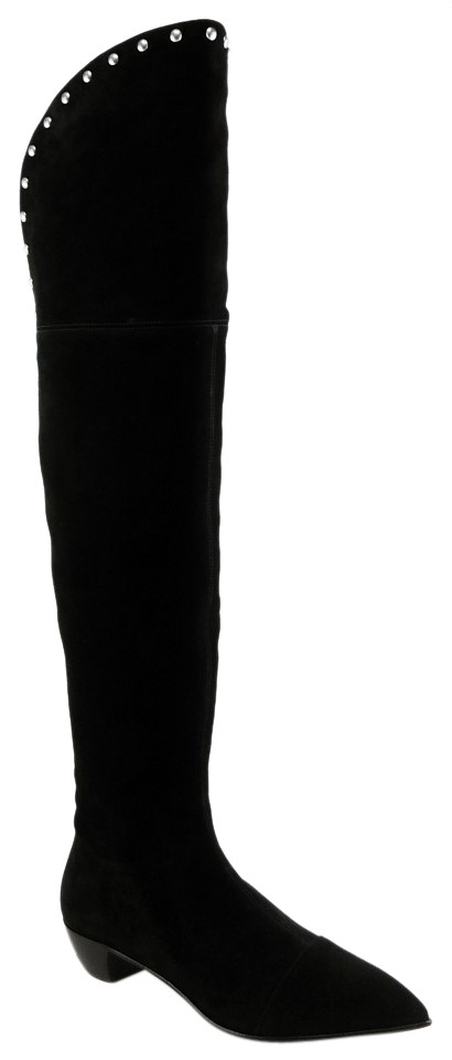 f3fb55123db Black Jacobs M9000334 Suede Designer Over The Knee Boots Booties ...