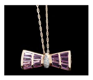 Other Diamond Amethyst Necklace or Brooch Bow 14k Gold