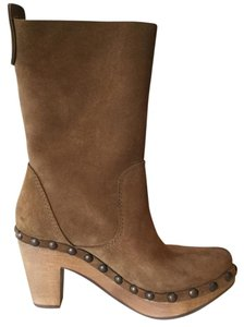 Pedro Garcia Cowhide Suede Studs Amber Brown Boots