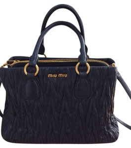 Miu Miu Matelasse Quilted Leather Top Handle Tote in Navy