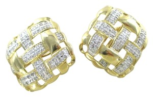 Other 14KT YELLOW GOLD EARRINGS SQUARE 132 DIAMONDS 2 CARAT FINE