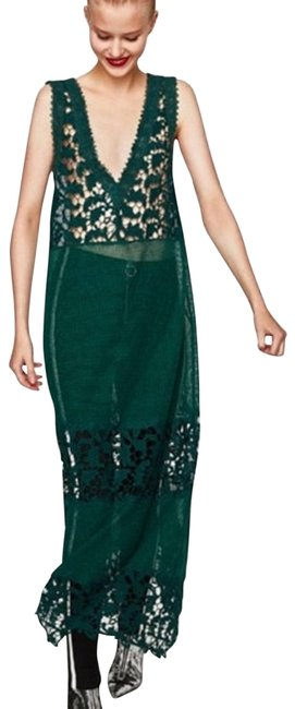 Item - Green Embroidered Crochet Boho Long Night Out Dress Size 12 (L)