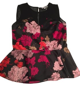 1.STATE Peplum Floral Top Black, Red, Pink