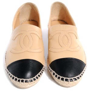 Chanel Espadrille Black Tan Beige/black Flats