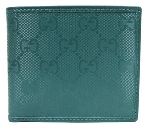 Gucci New Gucci Teal Imprime Leather Bifold Wallet 145754 4715