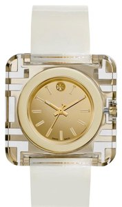 Tory Burch Tory Burch Izzie Leather-Strap Golden Watch, Ivory.