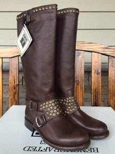 Frye Jenna Studded Tall Sz 8 Dark Brown Factory Distressed Boots