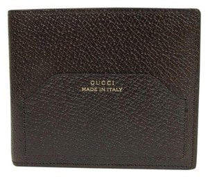 Gucci New Gucci Trademark Brown Leather Bifold Wallet 322102 2019