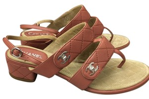 Chanel Heels Cc Brownish Pink Sandals