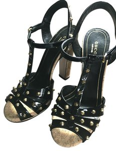 Gucci Black Patent Leather/ Gold studs Sandals