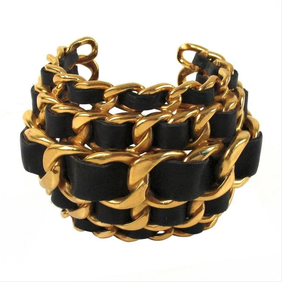 Chanel Black And Gold Vintage Leather Woven Chain Cuff Bracelet