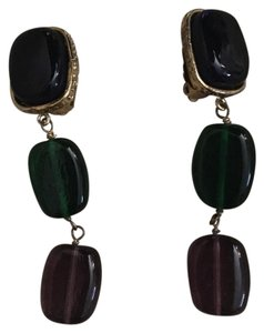 Chanel Multicolored Clip-on Gripoix Dangling Earrings