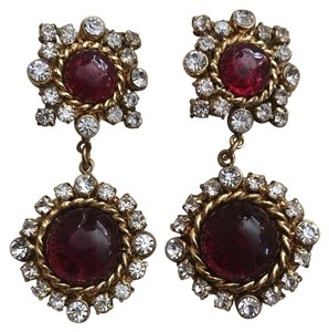 Chanel Vintage Clip-on Crystal and Gripoix Dangling Earrings