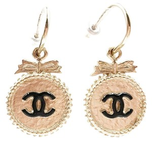 Chanel Chanel Gold Button Bow CC Dangle Piercing Earrings