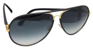 Gucci New GUCCI Sunglasses GG 2887/S UZAJJ 61-11 Black Leather & Gold w/Grey