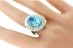 Other Oval Topaz And Diamond Halo Ring- 18k White Gold