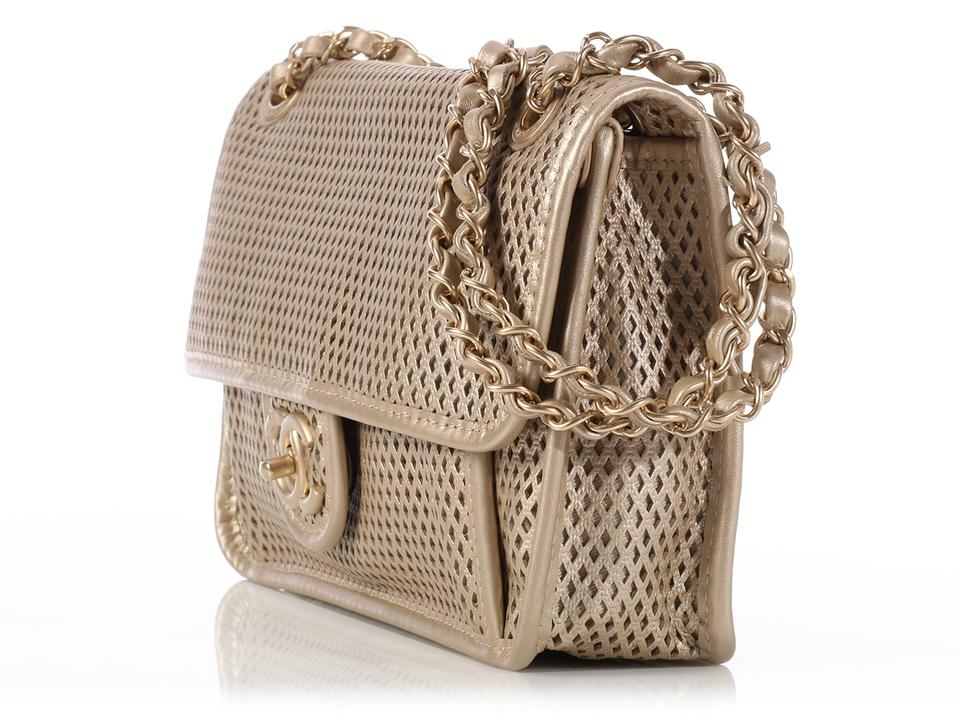 Chanel  sold On Ebay chanel Gold Perforated Flap Leather Shoulder ... 544e0b3ddbd