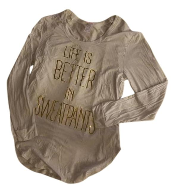 Life Is Better In Sweatpants Tee T Shirt White/Gold #20217563 - Tee Shirts hot sale