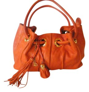 Roberta Leather Draw String Handles Split Compartments Satchel in Orange