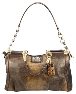 Coach Leather Embossed Python Satchel in Bronze