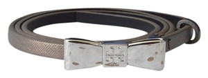 Tory Burch Tory Burch Bronze Metallic Leather Skinny Bow Belt SZ M