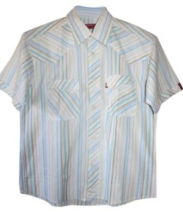 Levi's Short Sleeve Shirt Menswear Mens Button Down Shirt White with blue/green stripes