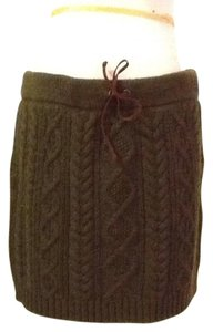 Polo Ralph Lauren Cotton 100% Dryclean Only Mini Skirt olive green with brown suede string