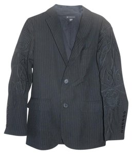 INC International Concepts Mens Embroidery Skull Black with grey pinstripe Blazer