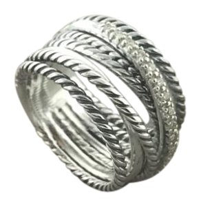 David Yurman Crossover Wide Diamond Ring