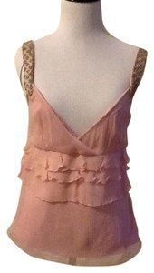 Elie Tahari 100% Silk Made In China Dryclean Only Top pink silver bean