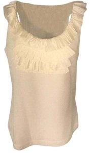 Banana Republic Silk Ruffle Sleeveless Scoop Neck Top Ivory