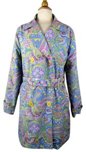 Izod Paisley Floral Double Breasted Belted Raincoat