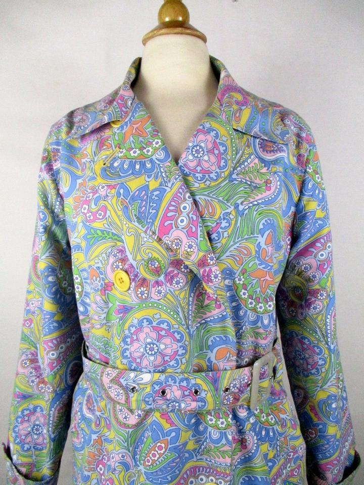 6aa3c4cd Izod Paisley Blue Floral Belted Double Breasted Coat. Size: Petite ...