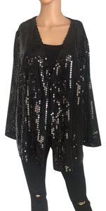 after five Vintage Sequin 90s Party Jacket Top Black